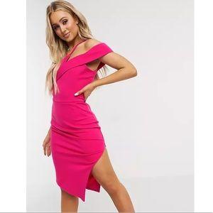 Lavish Alice Strappy Off-Shoulder midi dress, pink